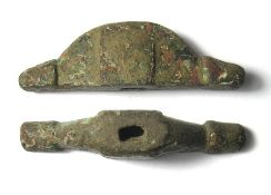 Anglo-Saxon Pommel. Circa 7th-8th century AD, 53.20 mm. A copper-alloy pommel fitting of the cocked