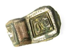 Large Anglo-Saxon Brooch Section. Circa 6th century AD. 45 x 28 mm.An impressive heavily gilded
