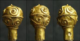 Anglo-Saxon Gold Aestal Terminal. Circa 800 - 1000 AD. Gold, 1.1 grams. 15.2 mm x 9.3 mm. A