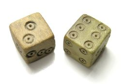 Roman Dice. Circa 1st - 4th century AD. Size: 10.95, 10.54 mm. Two bone or ivory dice with each