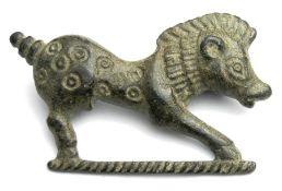Roman Boar Brooch. Circa 2nd century AD. Copper-alloy, 8.02 grams. 35.79 mm. A stylised
