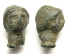 Celtic Bronze Bust.  Circa 1st century BC - 1st century AD. Copper-alloy, 25.16 grams. Size: 24.93