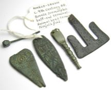 Anglo-Saxon Artefacts Group. Circa 7th - 9th century AD. A good selection of artefacts with old