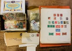 GB & Commonwealth material housed in a manila wallet and old cigar box. Includes a world-wide