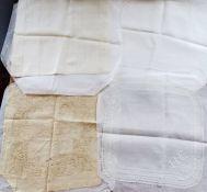 A cream silk handkerchief with the initial B 1920/30 and a plain lawn handkerchief with the