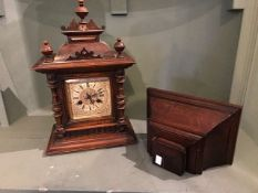 A late 19th Century walnut bracket clock, of Baroque design, Junghans movement, height 43cm, with