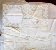 A delicately designed doily, 1920/30's together with a very fine cotton lawn handkerchief, centre is