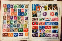 """Stamps: mid-20th century used worldwide collection in two """"schoolboy/girl"""" albums, used singles, low"""