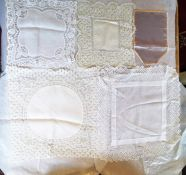 A pale grey satin small handkerchief with shell pink edging in satin, 1920/30's, a fine cotton