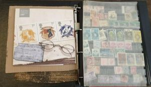 Stamps: two stockbooks of mid-20th century used worldwide; album of Sir Rowland Hill commemorative