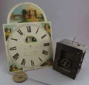 A nineteenth century longcase clock painted face dial, movement and pendulum. Possibly Gantor of