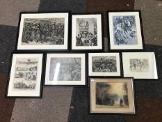 Eight assorted prints, to include Waterloo station etc, framed (8)