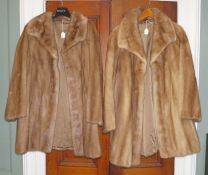 A 3/4 mink length coat with a very geometric collar 1950/60s together with another 3/4 length mink
