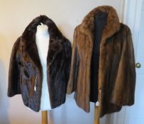 A tawny brown mink jacket with a tudor style collar from Joseph Fox Furrier, fully lined, size 12/