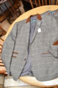 A Mark Darcy (London) country wear jacket, with velvet collar, piping, elbow patches; a matching