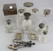 A mixed group of hallmarked silver items including spoons, ash trays, scent bottles, one with a