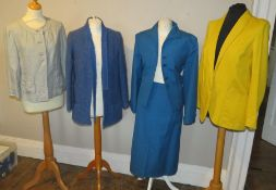 A collection of costumes to include a teal coloured linen suit with a top pocket made by Bernard