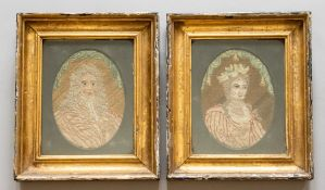 A pair of late 17th Century oval stumpwork textile portraits, King William III and his wife Queen