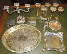A group of plated ware, to include: a decorative horse, sugar sifter, two serving dishes, six