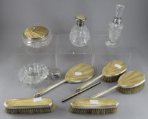A silver and guilloche enamel Mappin & Webb dressing table set, to include cut glass powder jar,