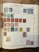 """Stamps. Used worldwide collection in two """"schoolboy/girl"""" albums plus loose clippings in envelope"""