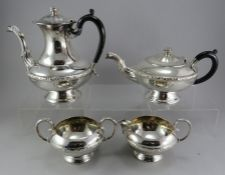 A plated tea / coffee service to include: coffeepot, teapot, sugar and creamer.