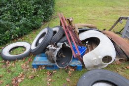 A large selection of car parts relating to Humber Motor Cars. To include a gearbox, engine, wings,