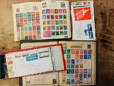 """Stamps. Mid-20th century used worldwide collection in two """"schoolboy/girl"""" albums, together with"""