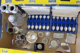 A mixed group of hallmarked silver to include: vases, footed dish, cruet stand, ash tray,