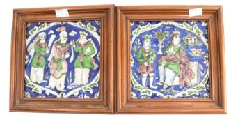 A pair of tiles, possibly Middle Eastern, in tones of purple, green and blue, approx 16.5cm x 16.