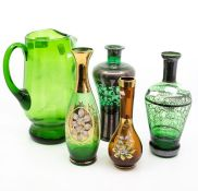 Two silvered green glass decanters; a green glass jug; two gilded vases (5)