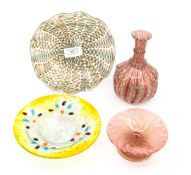 Glassware - a glass vase and dish; two other dishes (4)