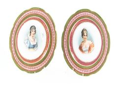 A pair of Alice Austria plates, transfer printed with portraits of ladies