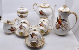 A Sheriden China tea and coffee service, comprising tea and coffee pots, cups, saucers, milk and