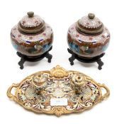 A pair of cloisonne vases and covers, approx 14cm high, on hardwood stands;  and A 19th century
