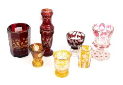 A collection of Continental glass, including amber and red flash, etc