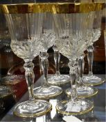 A set of six Italian crystal wine glasses, gilt decoration