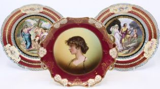 A pair of Vienna porcelain cabinet plates, transfer printed scenes, gilt detail, numbered 14/24