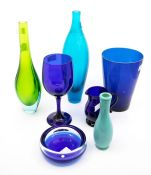 A group of blue and green glassware - vases, jug, ashtray, wine glass, beaker, etc (7)