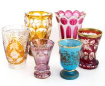 A group of six 19th  and 20th century glass vases, including overlaid and flash