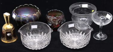 Glassware - Carnival glass; cut glass; 19th century and later, rinsers, etc (7)