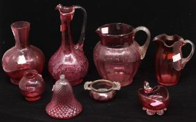 Cranberry glass - ewer, jugs, silver-mounted twin handled pot; vase; etc (8)