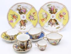 Continental ceramics - Dresden; Augustus Rex etc; cups and saucers; plates (10)