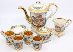 A Capodimonte coffee set for four, including coffee pot, four cups and saucers, milk jug and sugar