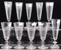 Ten assorted glass flutes (10)