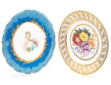 A Sevres porcelain plate, painted portrait to centre, titled to verso; and a 19th century floral
