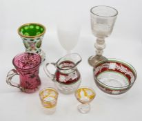 19th and 20th century glassware, including etched glass; overlaid vase; flash glass; etc (8)