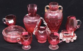 Cranberry glass - vases; cups; dishes (9)