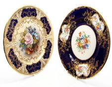Two Aynsley cabinet plates, painted with flowers