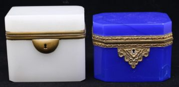 Two faceted glass trinket boxed, hinged lids, brass fittings (2)